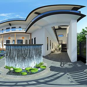 民宿庭院模型