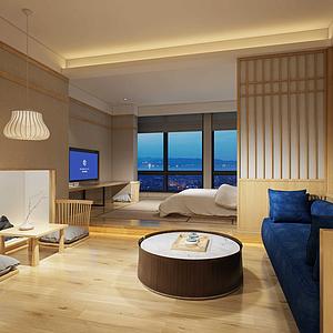 3d日式酒店客房模型