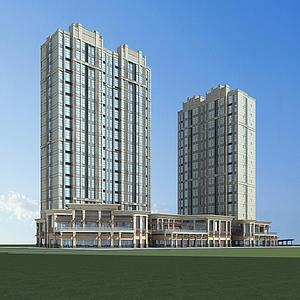 3d高層建筑<font class='myIsRed'>樓房</font>模型