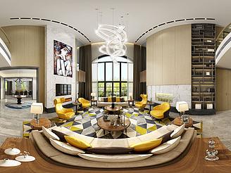 現代簡約客餐廳模型