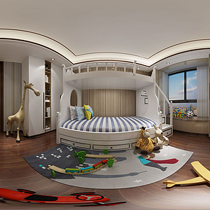 3d現代兒童房<font class='myIsRed'>兒童床</font>模型