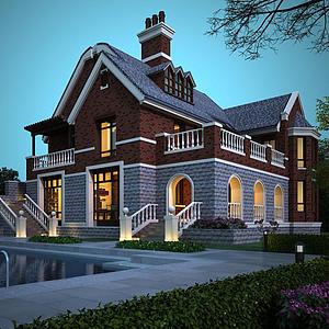 3d英式别墅模型