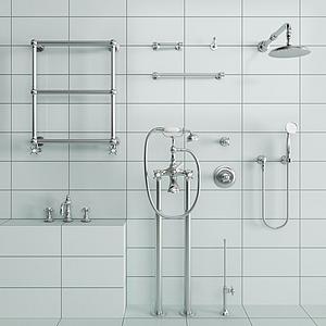現代淋浴花灑五金件組合模型