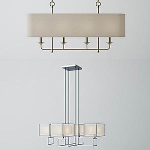 3d現代中式方形吊燈模型