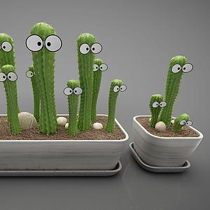 綠色仙人掌植物盆栽模型