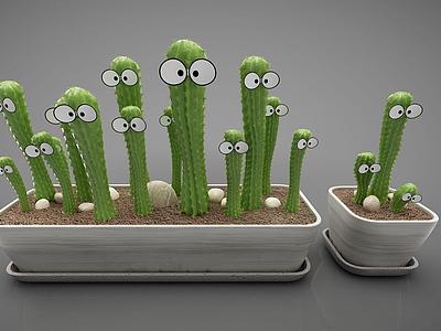 綠色仙人掌植物盆栽模型3d模型