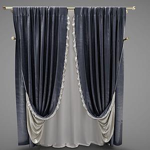 現代窗簾幕布模型