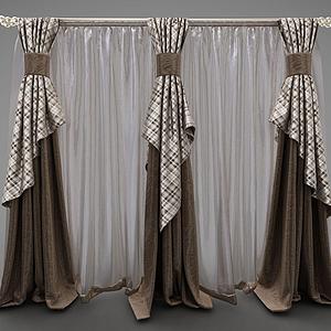 現代三簾式窗簾模型