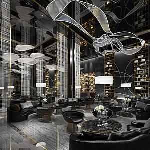 3d后现代咖啡馆模型