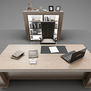現代木質辦公桌椅模型