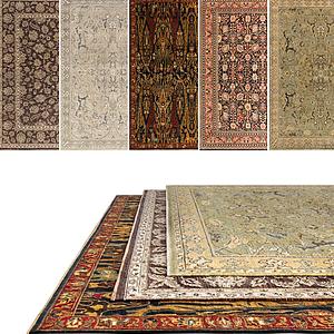 中式復古花色地毯組合模型