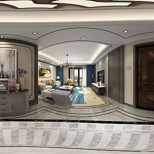 3d<font class='myIsRed'>輕奢客廳</font>餐廳走廊邊柜模型