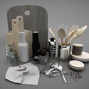 現代廚房餐具模型