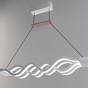 3d现代波浪吊灯模型