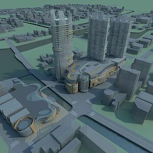 現代城市3d模型