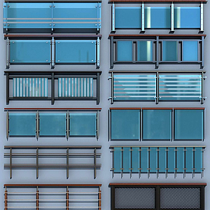 現代玻璃欄桿護欄扶手模型