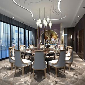 3d中式餐厅包间模型
