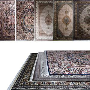 中式復古花式地毯模型