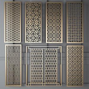 實木鏤空隔斷模型