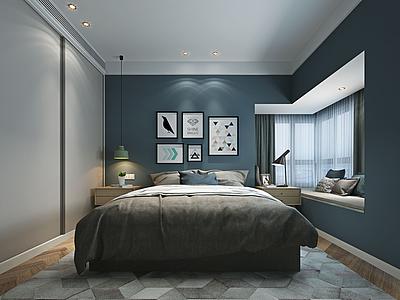3d現代簡約臥室模型