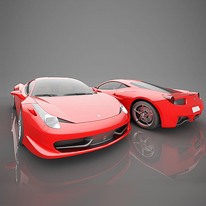 3d现代红色跑车模型