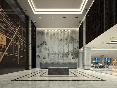 中式風格售樓部模型3d模型