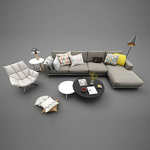 3d現代休閑沙發模型