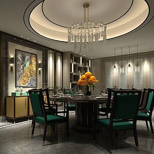 3d中式餐廳包間模型