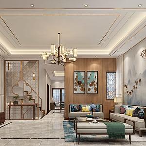3d中熙君墅新中式客廳模型