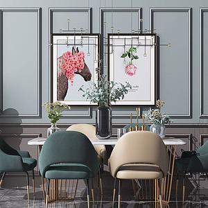 3d現代北歐餐桌椅餐廳裝修模型