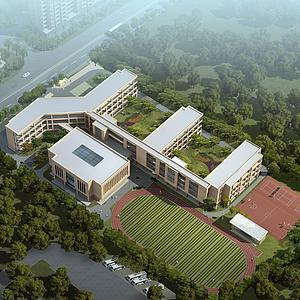 现代学校建筑模型