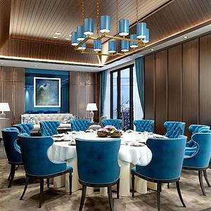 3d现代餐厅包间模型