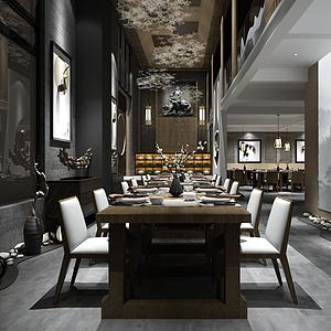 中式古典餐厅模型