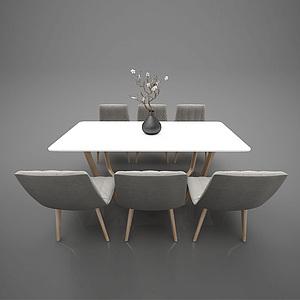 現在簡約餐桌椅子組合模型