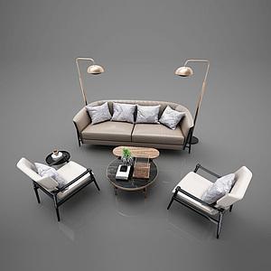 3d休閑沙發茶幾組合模型