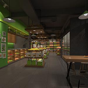 蔬菜水果专卖店商场货柜模型