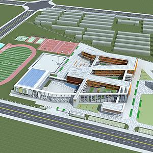 3d現代學校規劃模型