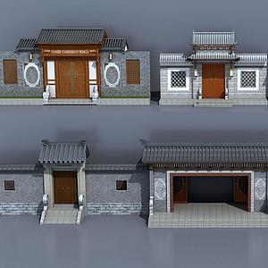 中式古建庭院大门入口