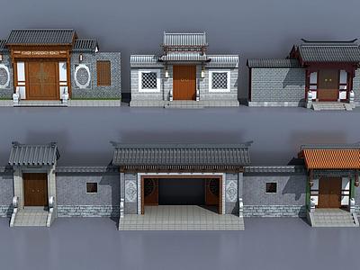 3d中式古建庭院大門入口模型