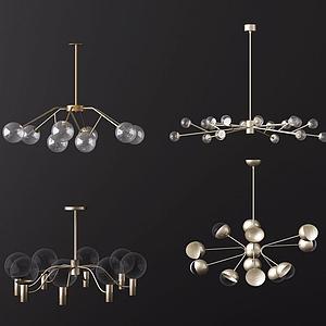 3d北欧透明灯泡吊灯模型