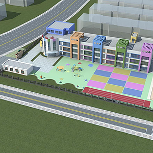 3d幼兒園鳥瞰模型