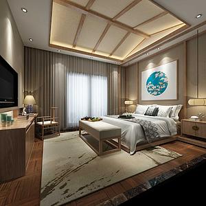 3d日式元素客房模型