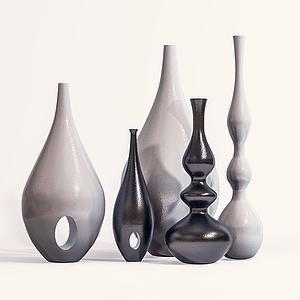 現代陶瓷瓶罐擺設模型