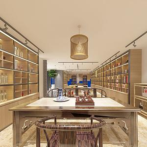 中式茶室休闲室模型