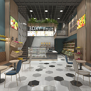 水果店店面店鋪裝修模型