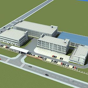 3d現代廠房辦公樓模型