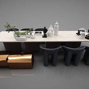 現代會議桌辦公桌模型