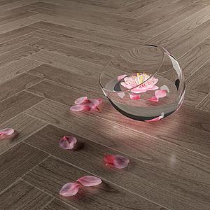 現代花瓣裝飾水杯模型
