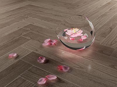 現代花瓣裝飾水杯模型3d模型