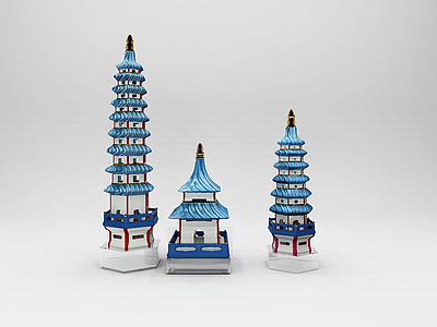 3d中式古建筑擺件模型